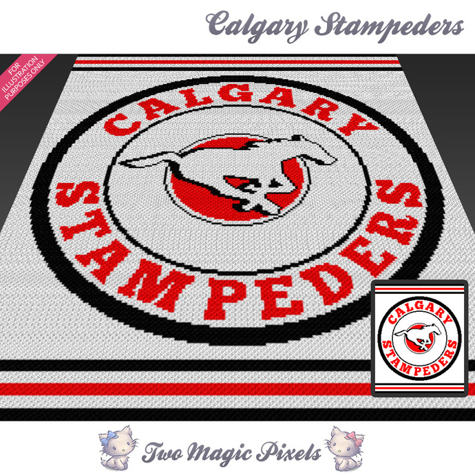 Calgary Stampeders crochet blanket pattern; cross stitch graph; pdf download; no