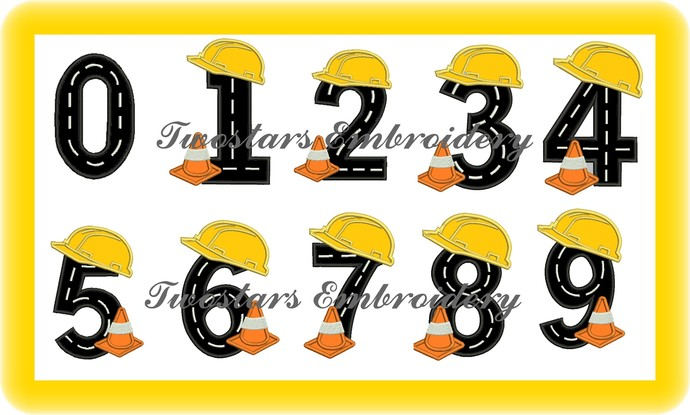 Construction numbers with hat and safety cone  In 4x4 5x7 digital embroidery 7