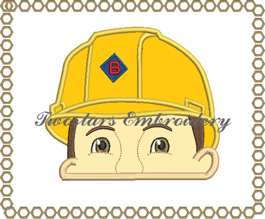 Construction man peeker, 4x4 5x7 digital embroidery file.