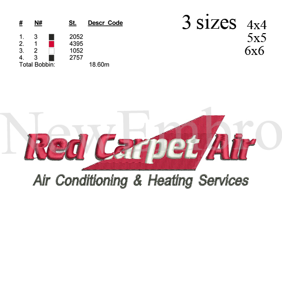 Custom embroidery, Red carpet air logo embroidery design embroidery pattern ...