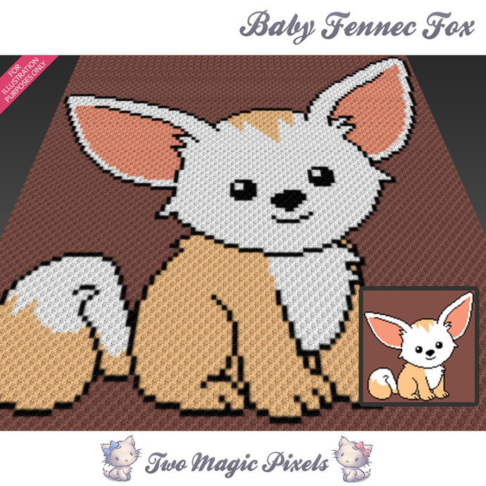 Baby Fennec Fox crochet blanket pattern; c2c, cross stitch; graph; pdf download;