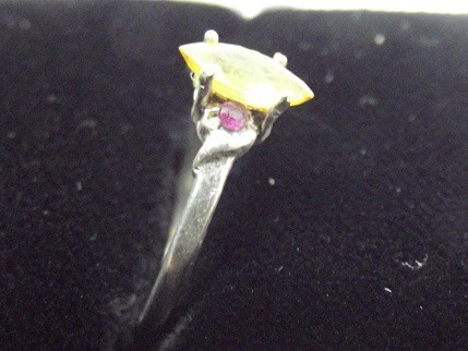 Hand Crafted Yellow Sapphire,Ruby and Sterling Ring