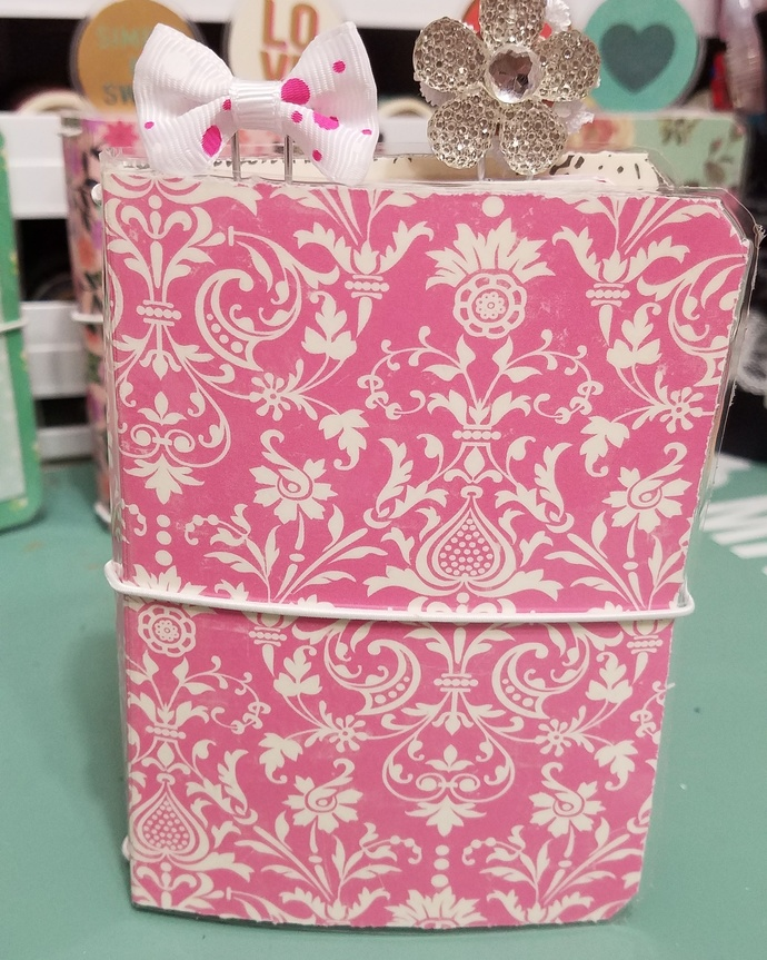 FREE SHIPPING  pink and white micro travelers notebook