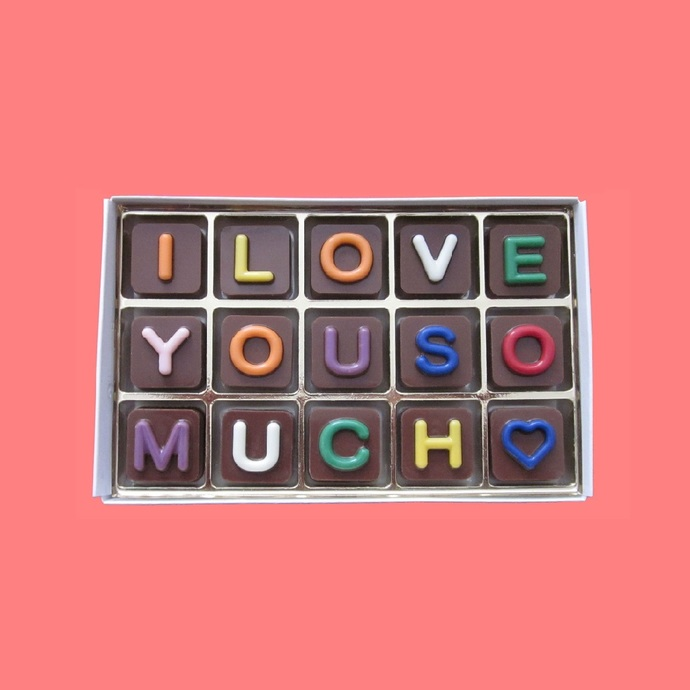 I Love You So Much Chocolate Letters Cool Valentines Anniversary Gift for  Him Boyfriend Husband Made to Order by What Candy Says