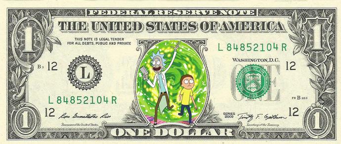 Rick and Mort Real Dollar Bill Cash Money Collectible Memorabilia Celebrity