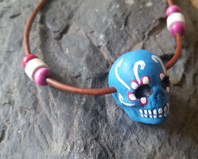 Blue Sugar Skull Necklace, Day of the Dead, Halloween, Leather Cord Necklace