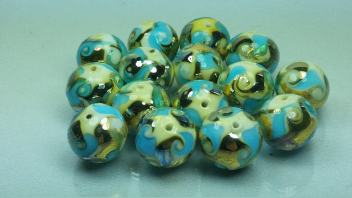 Lot of 10 Murano Glass beads  White, Aquamarine, Gold leaf 24 kt and high-grade