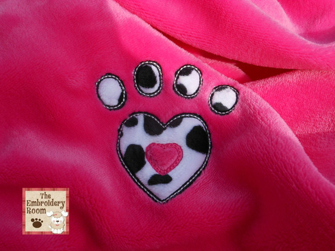 Appliqued Dog Blanket - Animal Print Heart Paw Print