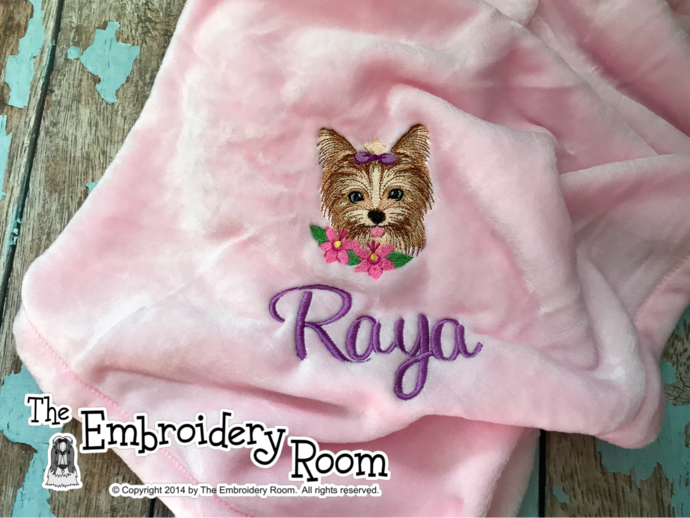 Yorkie-Custom Embroidered Dog Blanket