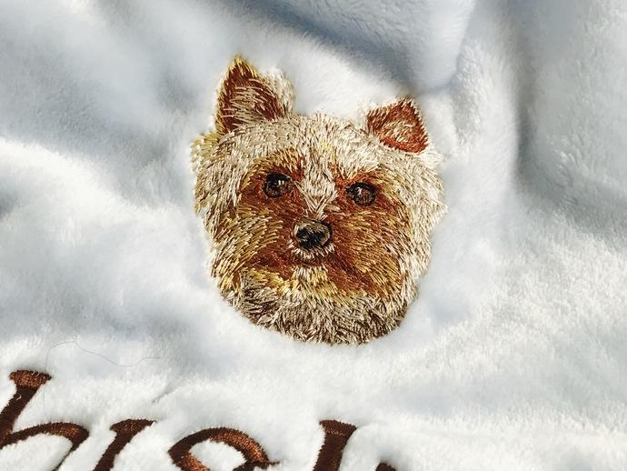 Yorkshire Terrier-Custom Embroidered Dog Blanket