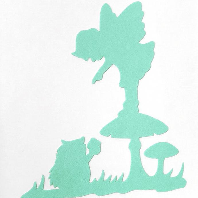 Color Choice. Fairy And Hedgehog Mint Green Wall Art Wall Decor Felt Art. Fairy