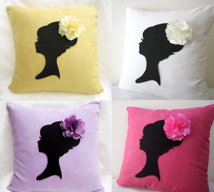 Elegant Romantic Lady Portrait Floral Headpiece Ice Blue Decorative Pillow