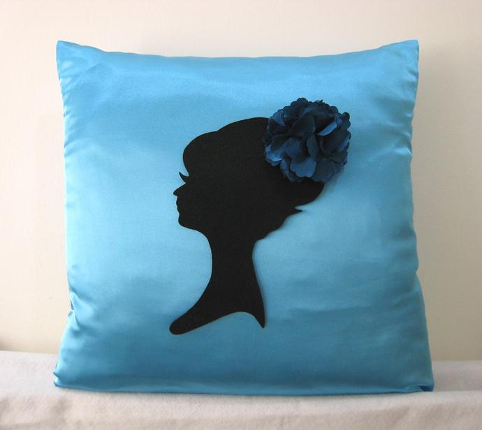 Elegant Romantic Lady Portrait Floral Headpiece Ice Blue Decorative Pillow