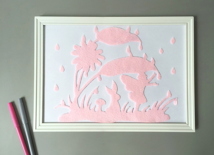 Pick Your Color. Fairy In The Rain Light Pink Wall Art Felt Art Wall Decor.