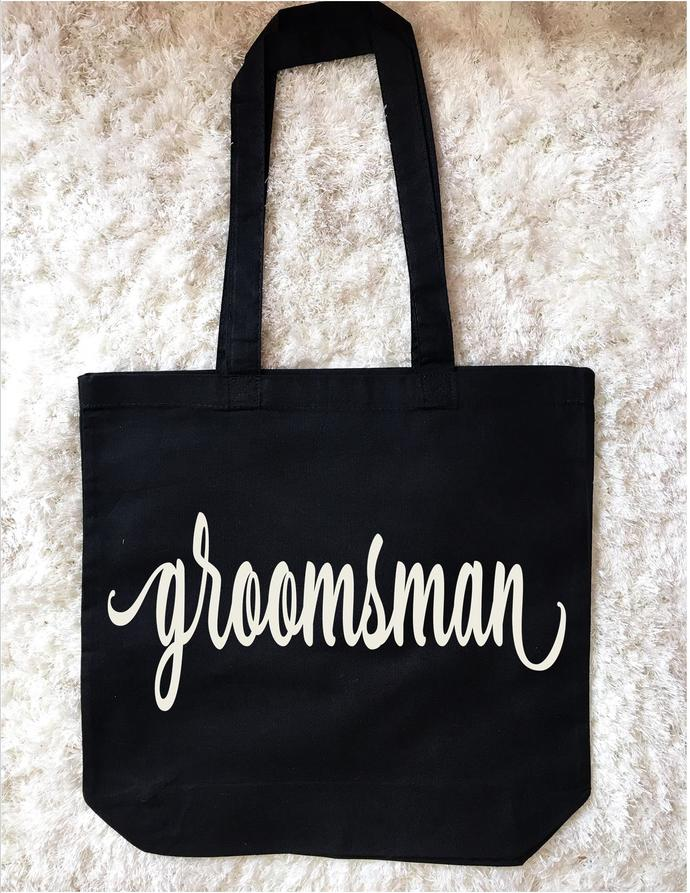 Personalized Wedding Party Gifts, Groomsman gifts, Large Cotton Tote Bag, Bride