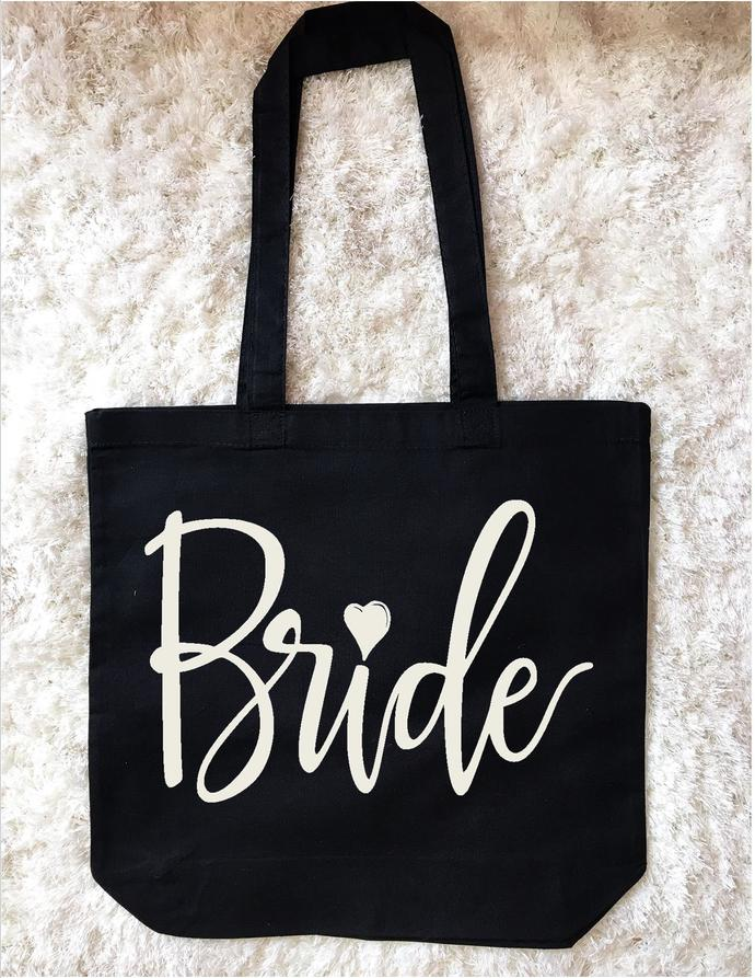Personalized Bride Tote, Custom Mrs. tote, Large cotton tote bag, wedding day