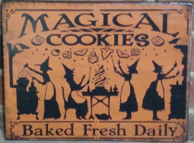 Primitive Kitchen Witch witches sign magical cookies baked fresh Signs halloween