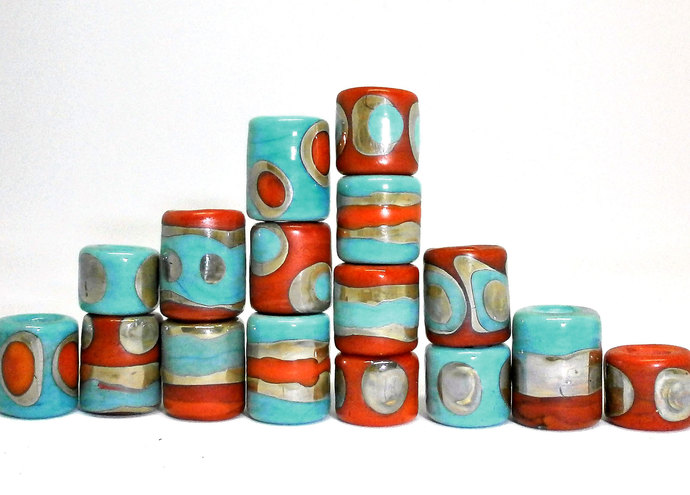 Little Barrel beads from my Sari Silk Series in Coral Orange and Light Turquoise