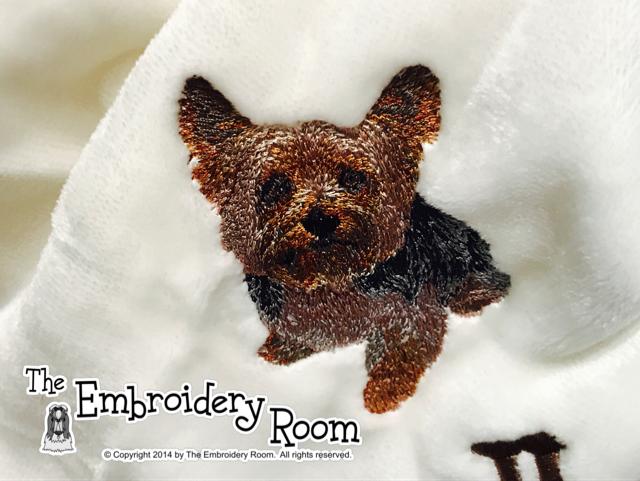 Yorkie-Short Cut-Custom Embroidered Dog Blanket