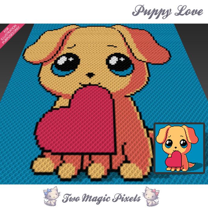 Puppy Love crochet blanket pattern; c2c, cross stitch; graph; pdf download; no