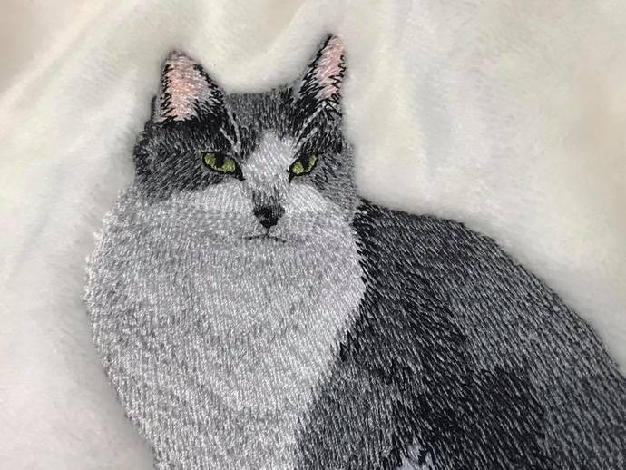 Cat-Gray and White Cat-Blanket
