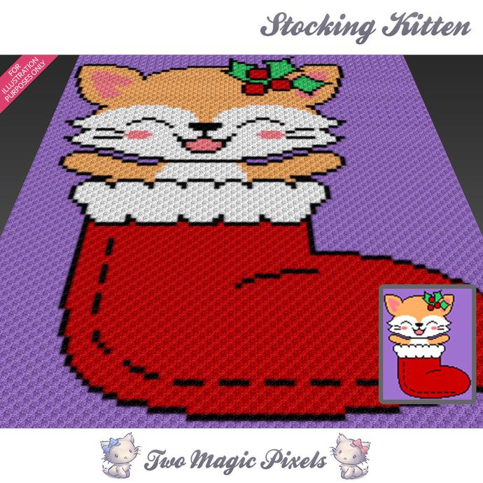 Stocking Kitten crochet blanket pattern; c2c, cross stitch; graph; pdf download;