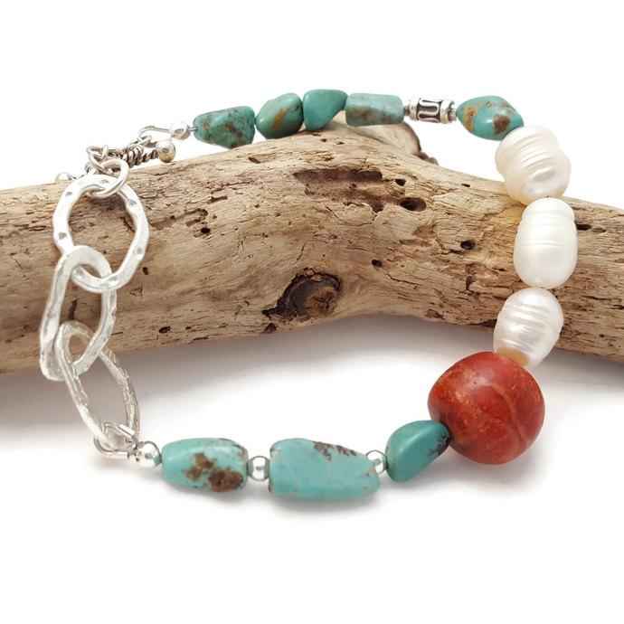 Boho Bracelet - Bohemian beaded bracelet - Turquioise Bracelet - Jasper bracelet