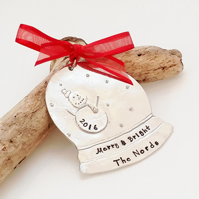 Personalized Christmas Tree Ornament - Snow Globe Ornament - Personalized