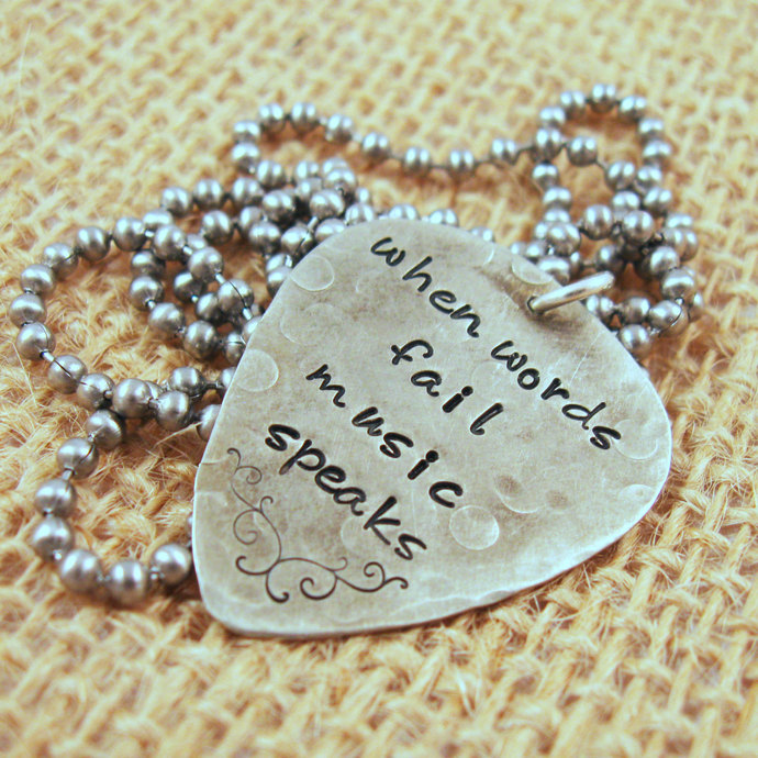 When words fail music speaks guitar pick necklace - Personalized Guitar Pick