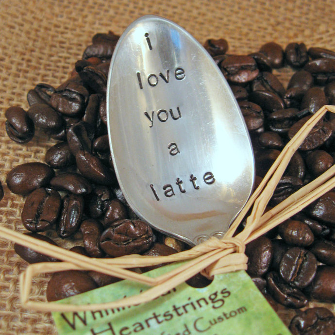 Coffee Spoon - Coffee Lover spoon - Vintage spoon - I love you a latte Spoon -