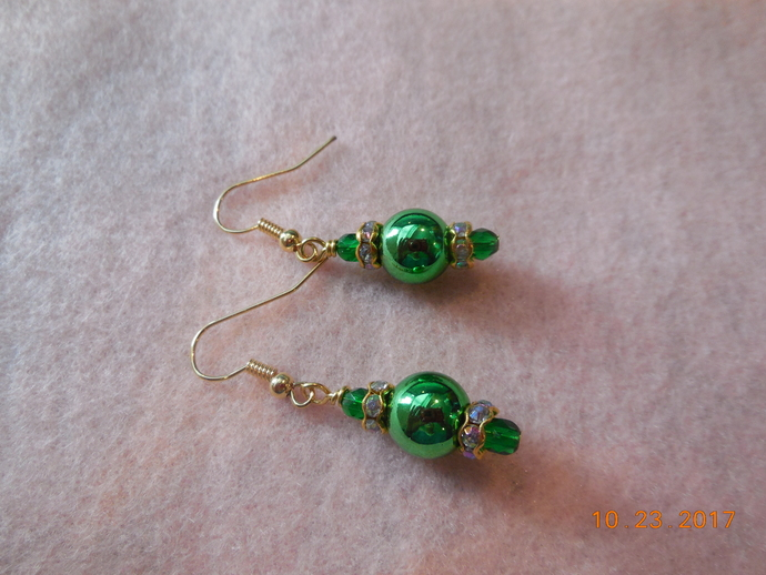 Green Glass Sparkle Earrings