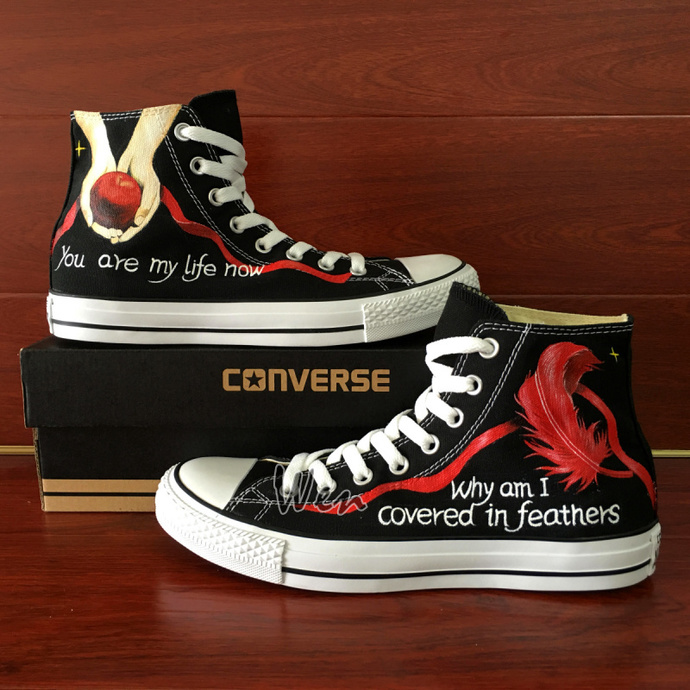 Unisex Hand Painted Canvas Shoes Custom Design Twilight Apple Feather Converse