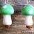MUSHROOM EARRINGS, LIGHT GREEN GLASS MUSHROOM EARRINGS, HIPPIE JEWELRY, MUSHROOM