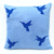 Custom Your Color. Navy Humming Birds Soft Blue Decorative Pillow Cover. 17inch