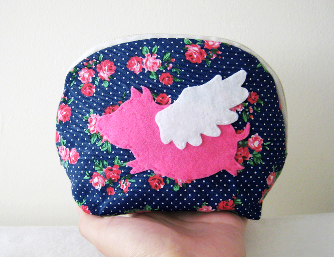 When Pig Flies. Flying Pig Pink Roses Navy Floral Zipper Pouch Cosmetic Pouch.