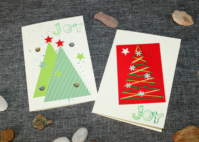 2 Christmas Cards | Handmade by Artisan 3D Cards - Christmas Tree - Spread the