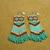 Native American Style Loom/Square Stitched Geometric Earrings in Seafoam Green