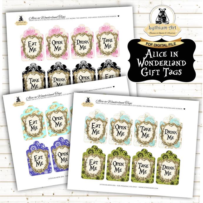 Alice in Wonderland Tags - Alice in Wonderland Printable Tags - Drink Me - Eat