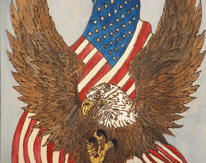 Patriotic, Eagle & Flag, Wood Wall Art, Decorative Pyrography, Wall hanging