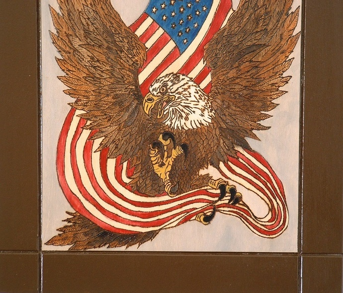 Patriotic, Eagle & Flag, Wood Wall Art, Decorative Pyrography, Wall hanging
