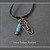 Hand Fabricated Copper Arrow and Blue Turquoise Charm Necklace On Leather