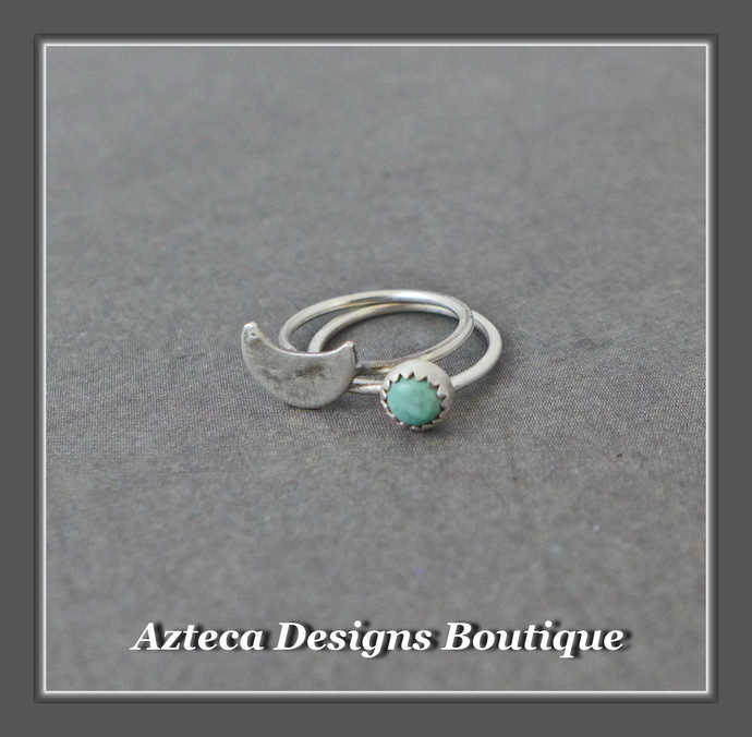 Teeny Tiny Open Hoops Turquoise Moon Sterling Silver Artisan Earrings