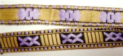 Jacquard Ribbon Trim Lilac Ecru Black Tribal Inspired