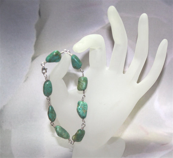 Natural Green Turquoise Nugget Sterling Silver Bracelet