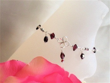 Garnet Diamonds Sterling Silver Anklet