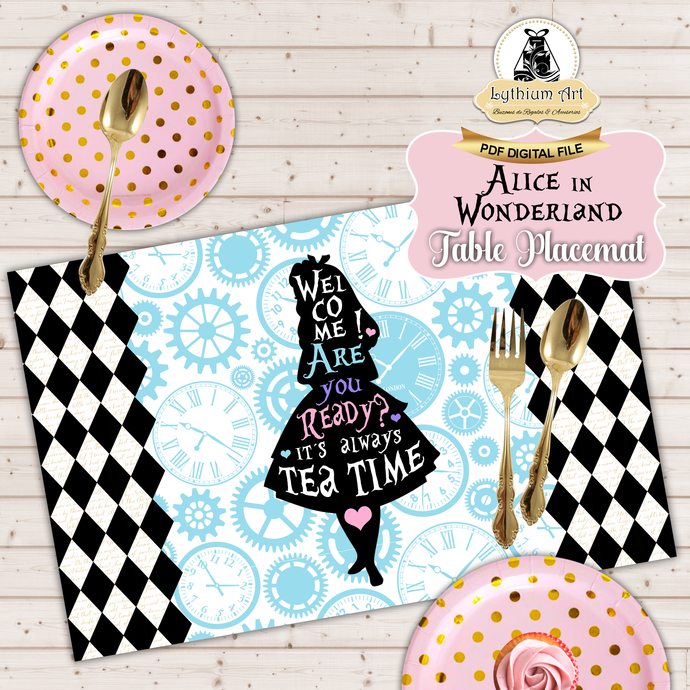 Alice in Wonderland Placemat - Alice in Wonderland Table Mat - Alice in