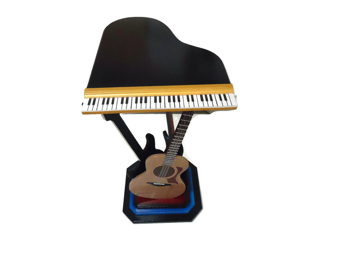 Unique Piano Table featuring Guitar Sculptures - Accent Table -Novelty -