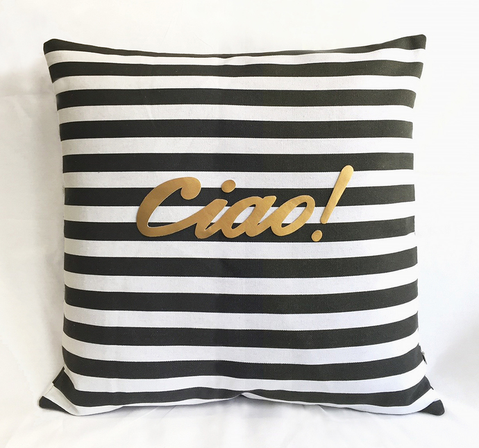 Color Choice Gold Text Ciao Black White By SmilingCloud On Zibbet Mesmerizing Black And White Striped Decorative Pillows