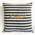 Color Choice. Gold Text Ciao Black White Stripes Decorative Pillow Cover. Modern