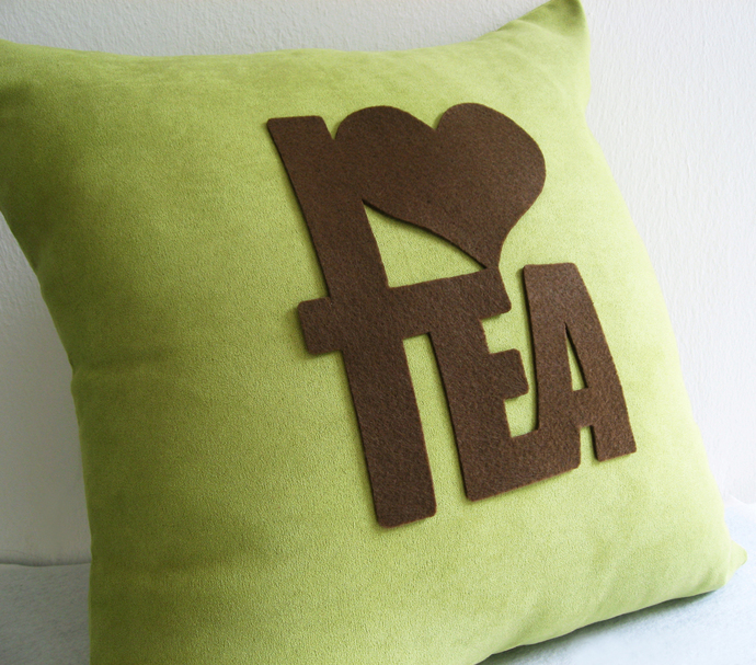 Custom Your Color. I Love Tea Typography Dusty Green Decorative Pillow Cover